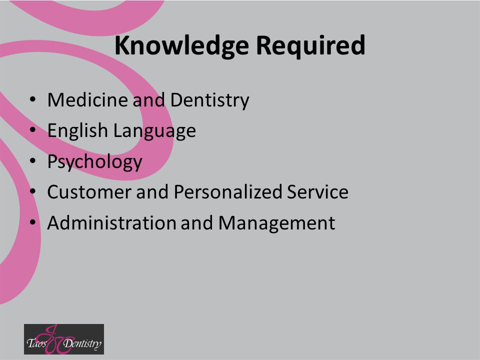 Knowledge Required Medicine and Dentistry English Language Psychology Customer and Personalized Service Administration and Management