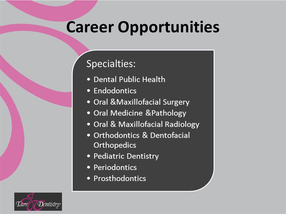 Career Opportunities Specialties: Dental Public Health Endodontics Oral &Maxillofacial Surgery Oral Medicine &Pathology Oral & Maxillofacial Radiology Orthodontics & Dentofacial Orthopedics Pediatric Dentistry Periodontics Prosthodontics