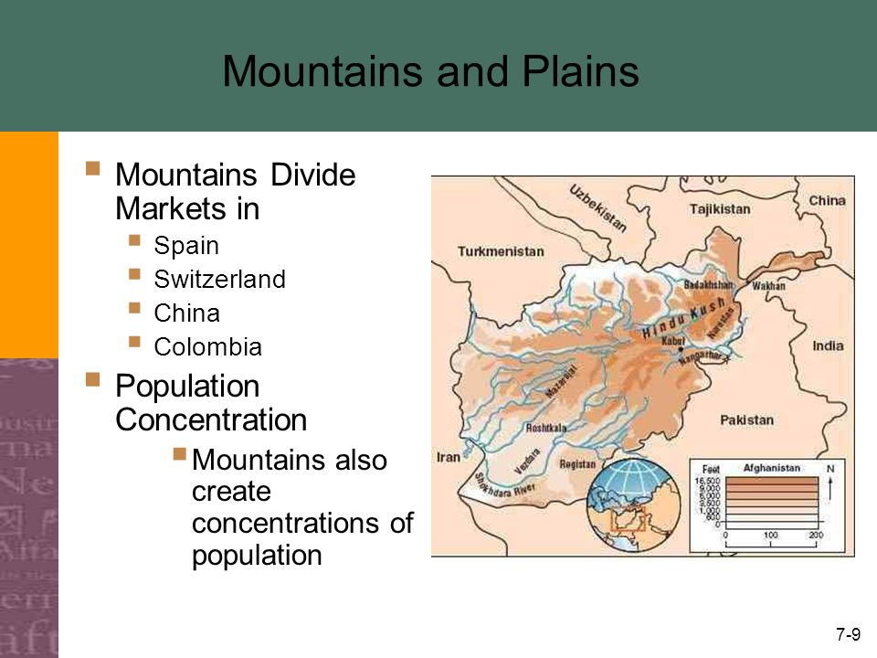 7-9 Mountains and Plains  Mountains Divide Markets in  Spain  Switzerland  China  Colombia  Population Concentration  Mountains also create con