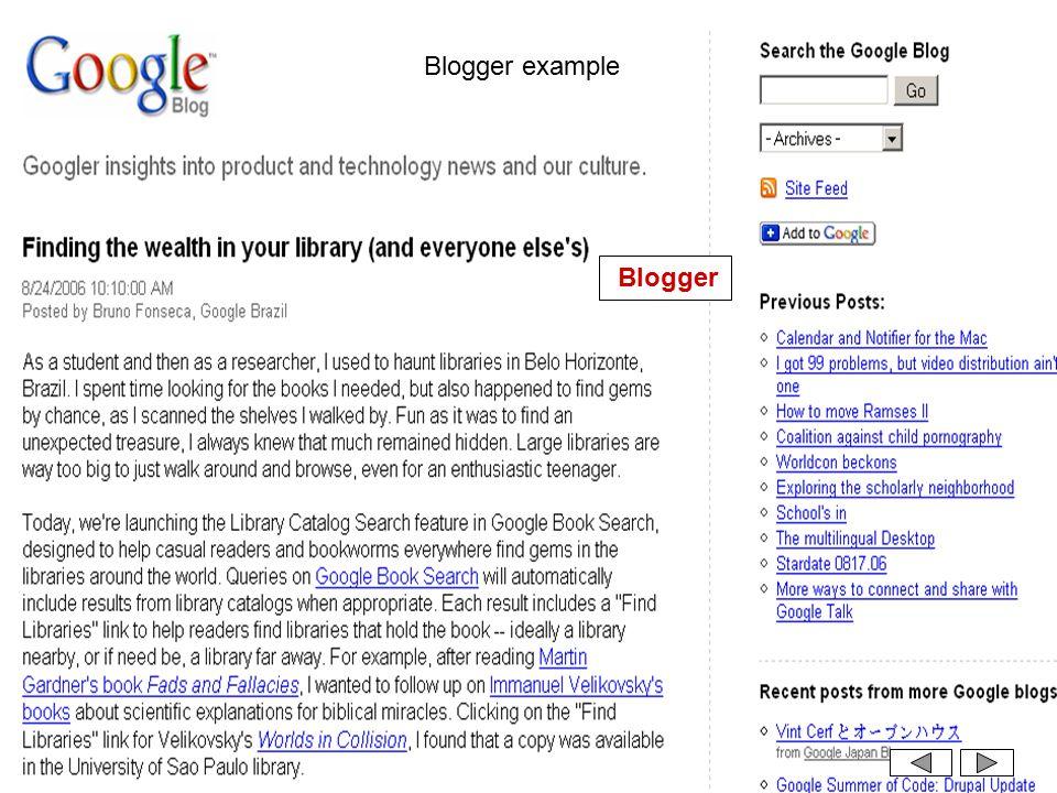 Blogger example Blogger