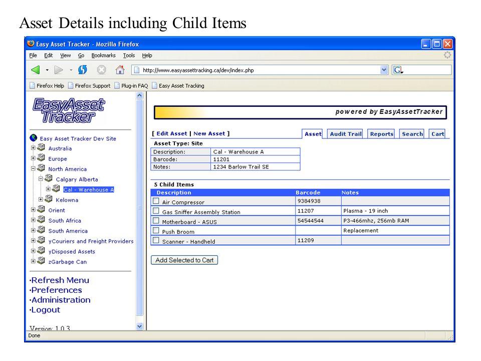 Asset Details including Child Items