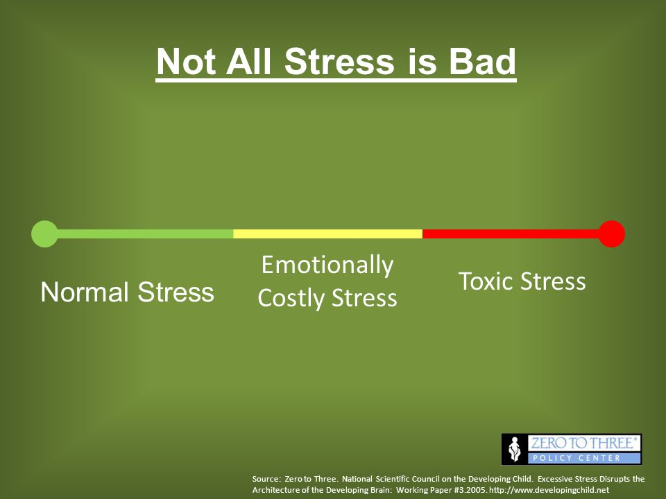 Normal Stress Emotionally Costly Stress Toxic Stress Not All Stress is Bad Source: Zero to Three. National Scientific Council on the Developing Child.