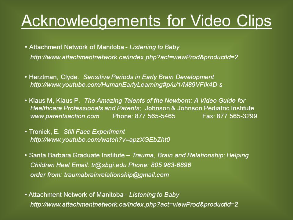 Acknowledgements for Video Clips Attachment Network of Manitoba - Listening to Baby http://www.attachmentnetwork.ca/index.php?act=viewProd&productld=2