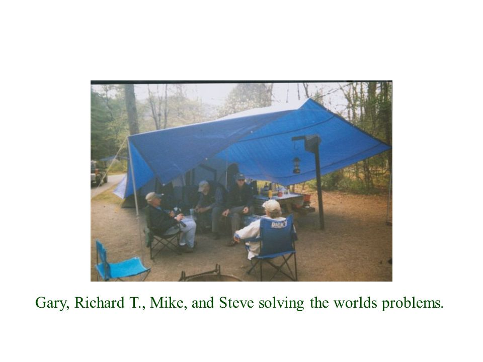 Gary, Richard T., Mike, and Steve solving the worlds problems.