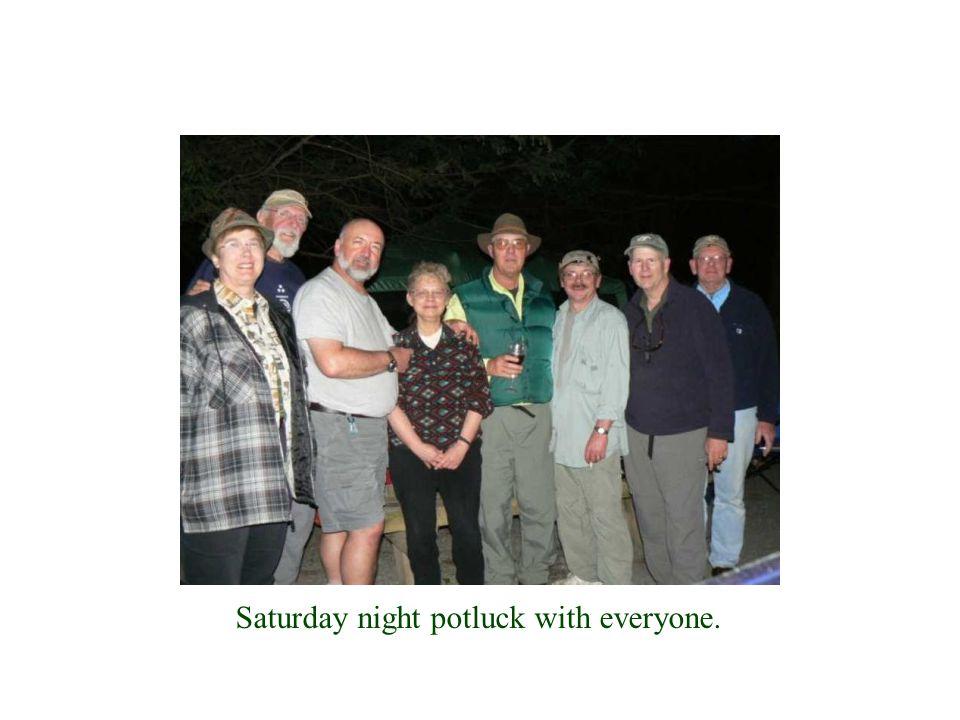 Saturday night potluck with everyone.