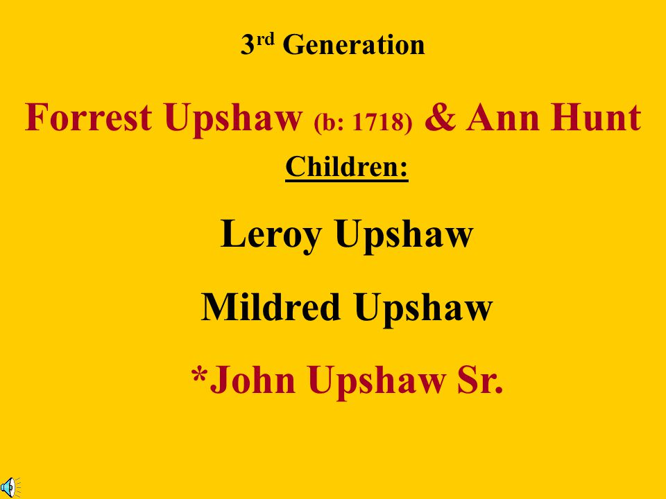 8 th Generation John Upshaw Jr. Born: Abt. 1864