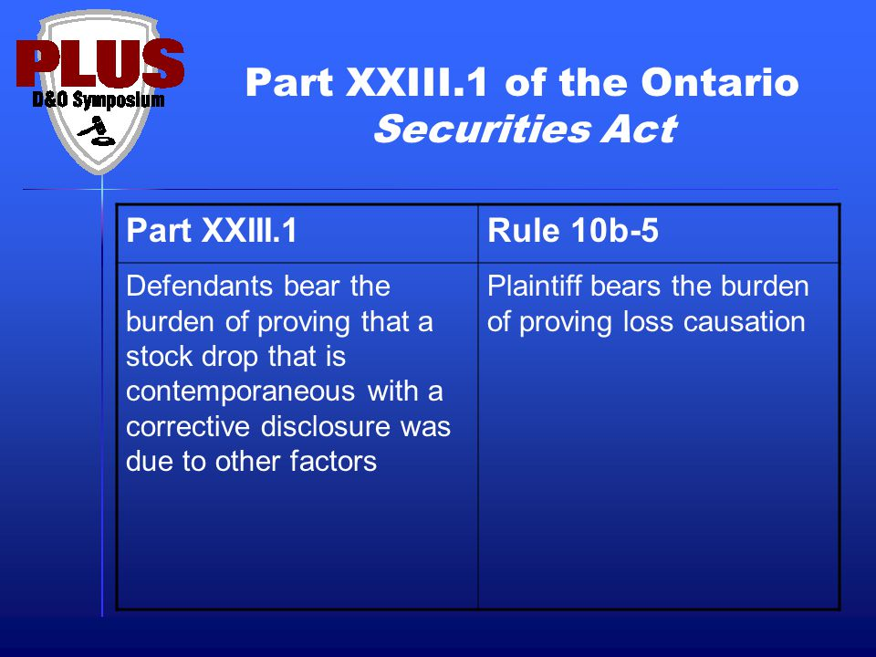 Part XXIII.1 of the Ontario Securities Act Part XXIII.1Rule 10b-5 Defendants bear the burden of proving that a stock drop that is contemporaneous with