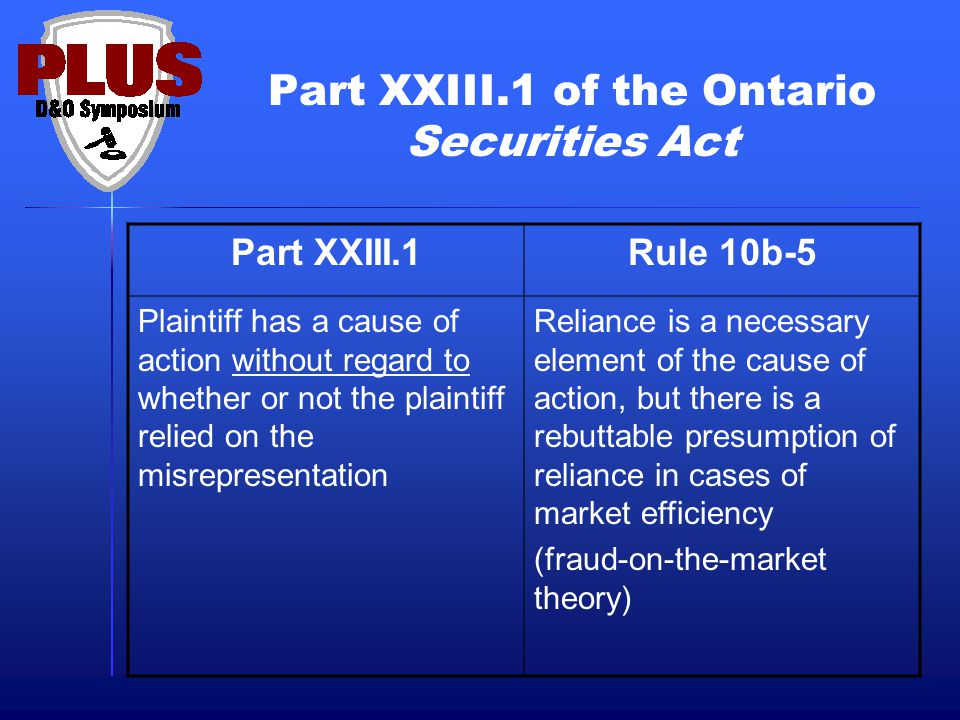 Part XXIII.1 of the Ontario Securities Act Part XXIII.1Rule 10b-5 Plaintiff has a cause of action without regard to whether or not the plaintiff relie
