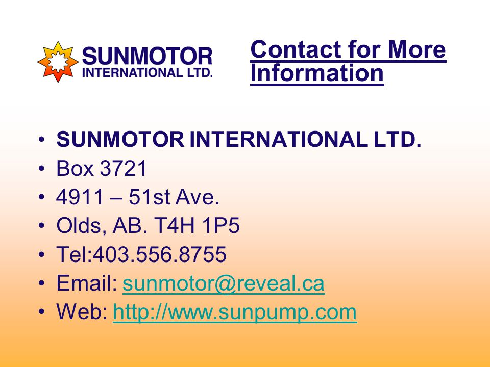 Contact for More Information SUNMOTOR INTERNATIONAL LTD.