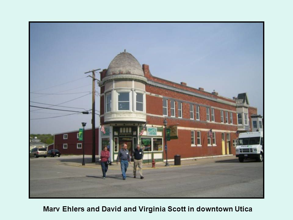 Marv Ehlers and David and Virginia Scott in downtown Utica