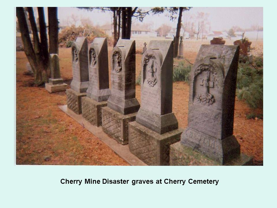 Cherry Mine Disaster graves at Cherry Cemetery