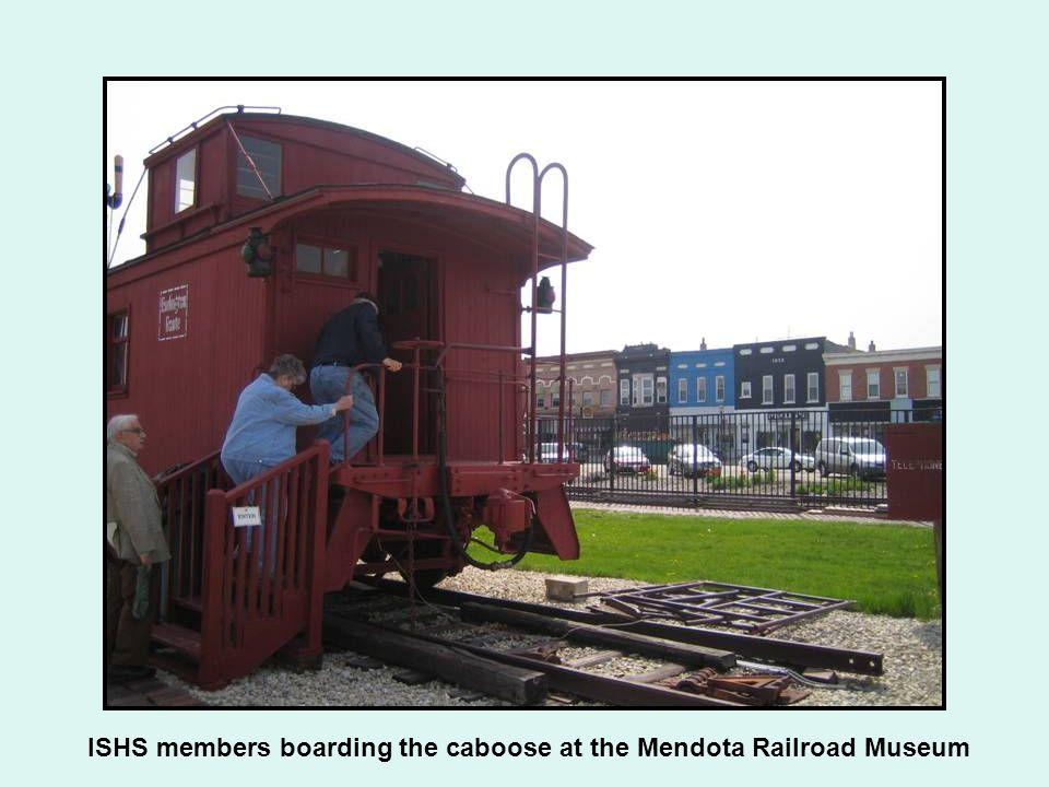 ISHS members boarding the caboose at the Mendota Railroad Museum