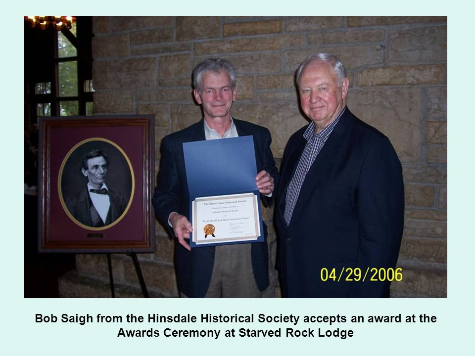 Bob Saigh from the Hinsdale Historical Society accepts an award at the Awards Ceremony at Starved Rock Lodge