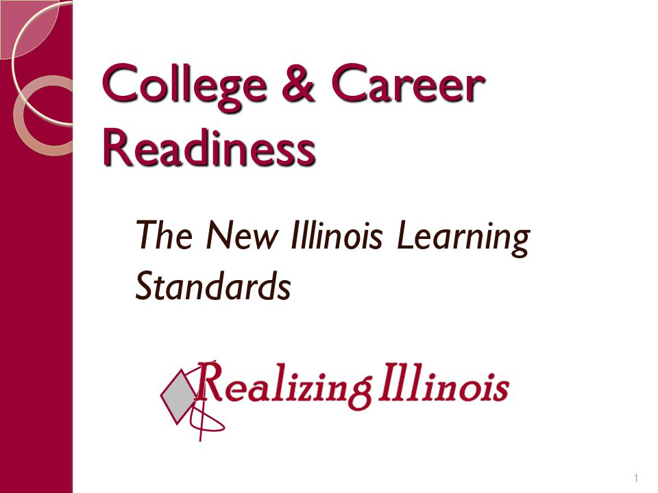 College & Career Readiness The New Illinois Learning Standards 1