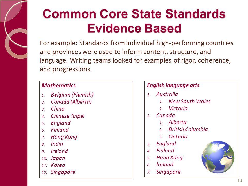 Common Core State Standards Evidence Based Mathematics 1. Belgium (Flemish) 2. Canada (Alberta) 3. China 4. Chinese Taipei 5. England 6. Finland 7. Ho