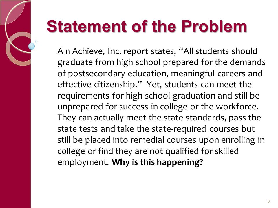 Statement of the Problem A n Achieve, Inc.