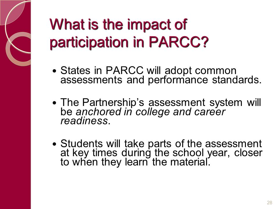 What is the impact of participation in PARCC.