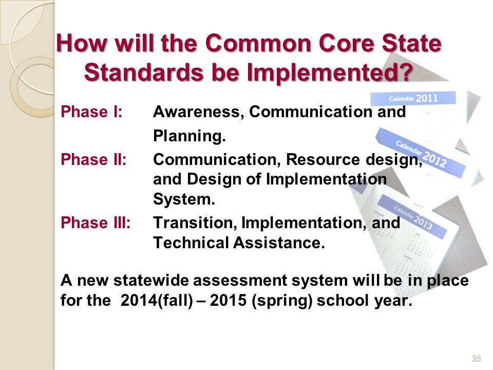 35 Phase I: Awareness, Communication and Planning. Phase II: Communication, Resource design, and Design of Implementation System. Phase III: Transitio