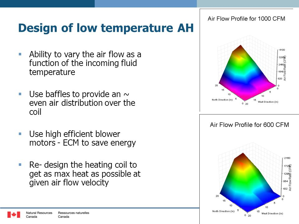 Design of low temperature AH  Ability to vary the air flow as a function of the incoming fluid temperature  Use baffles to provide an ~ even air distribution over the coil  Use high efficient blower motors - ECM to save energy  Re- design the heating coil to get as max heat as possible at given air flow velocity