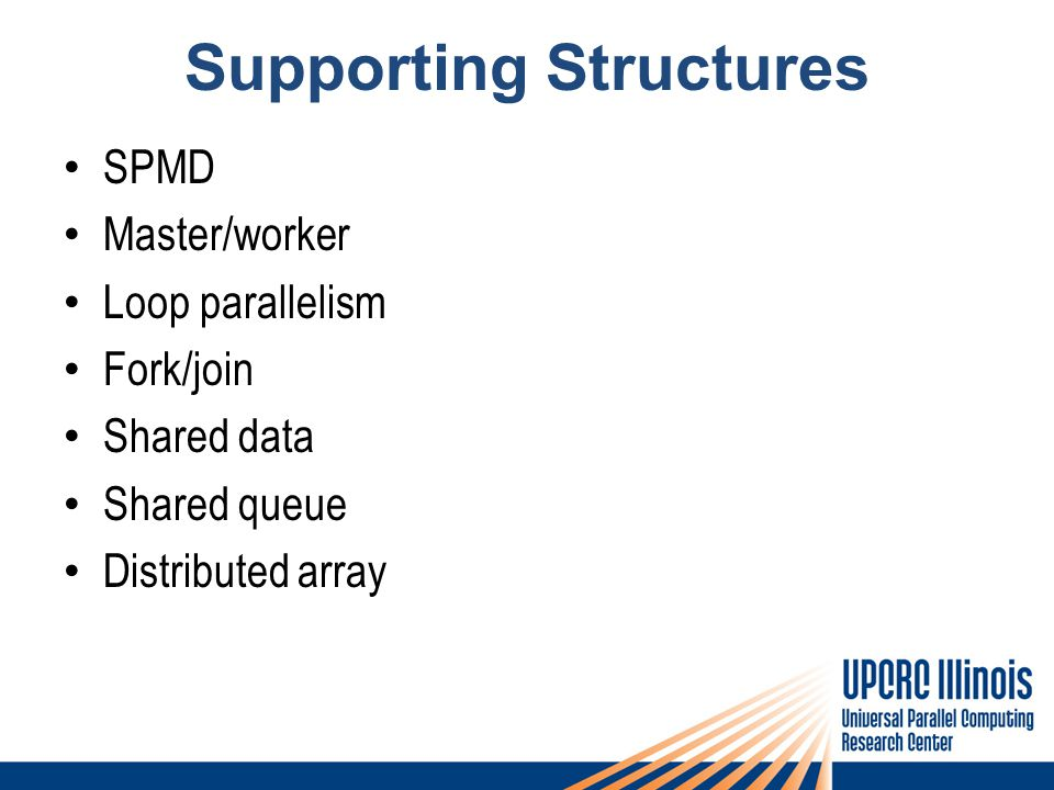 Supporting Structures SPMD Master/worker Loop parallelism Fork/join Shared data Shared queue Distributed array