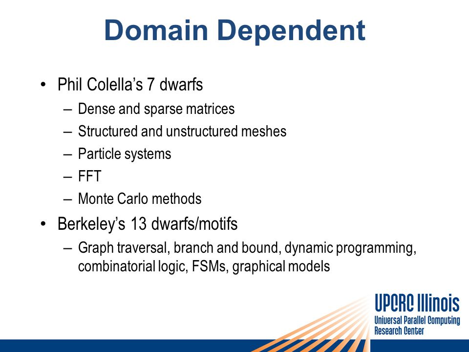 Domain Dependent Phil Colella's 7 dwarfs – Dense and sparse matrices – Structured and unstructured meshes – Particle systems – FFT – Monte Carlo methods Berkeley's 13 dwarfs/motifs – Graph traversal, branch and bound, dynamic programming, combinatorial logic, FSMs, graphical models