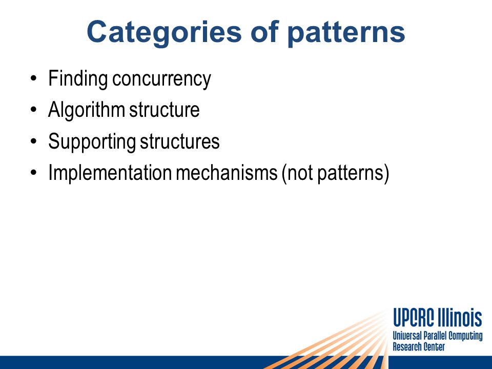 Categories of patterns Finding concurrency Algorithm structure Supporting structures Implementation mechanisms (not patterns)