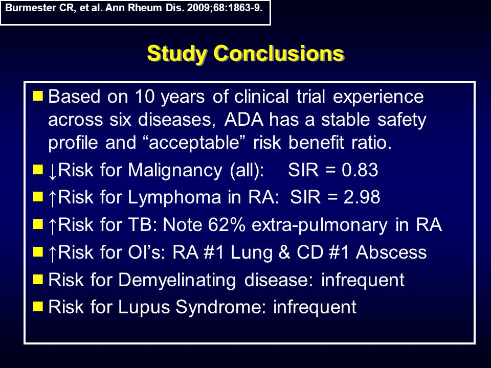 Study Conclusions  Based on 10 years of clinical trial experience across six diseases, ADA has a stable safety profile and acceptable risk benefit ratio.