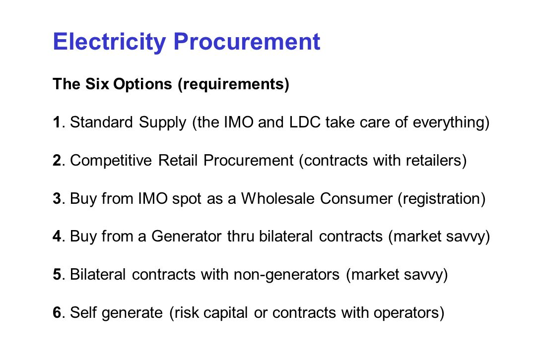 Electricity Procurement The Six Options (requirements) 1.