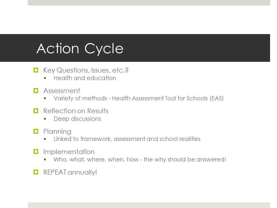 Action Cycle  Key Questions, Issues, etc..