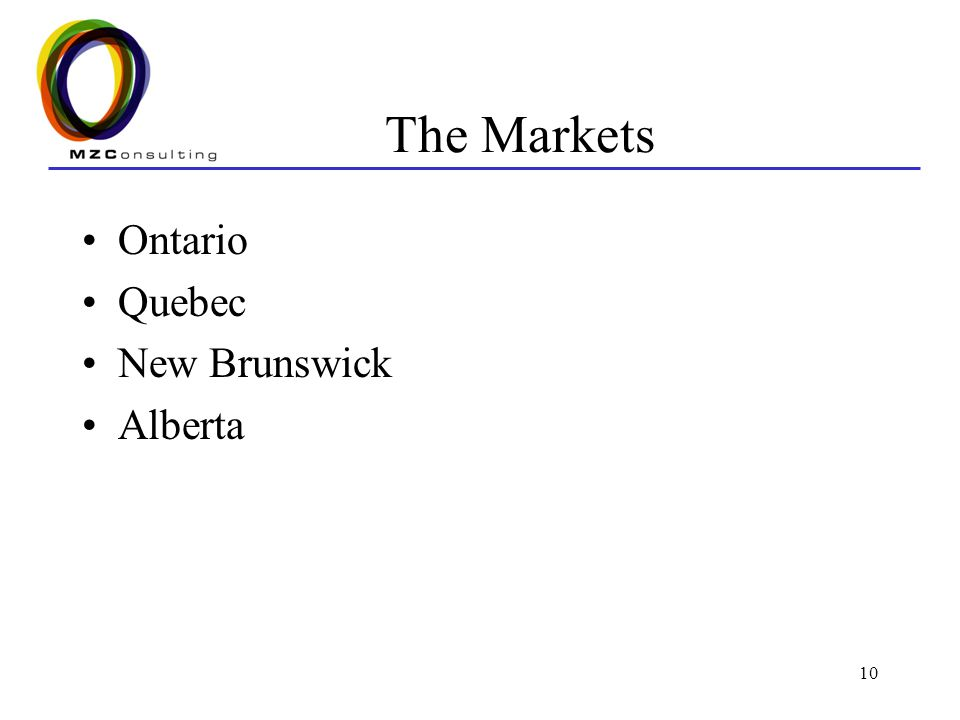 10 The Markets Ontario Quebec New Brunswick Alberta