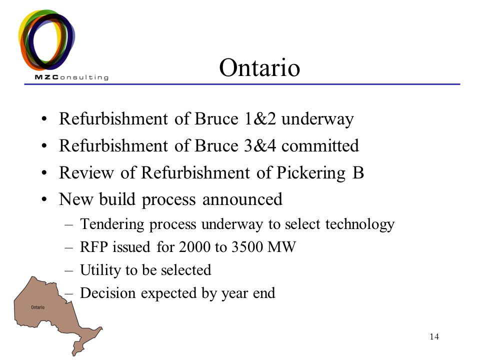 14 Ontario Refurbishment of Bruce 1&2 underway Refurbishment of Bruce 3&4 committed Review of Refurbishment of Pickering B New build process announced –Tendering process underway to select technology –RFP issued for 2000 to 3500 MW –Utility to be selected –Decision expected by year end