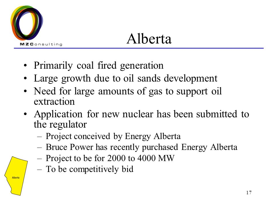 17 Alberta Primarily coal fired generation Large growth due to oil sands development Need for large amounts of gas to support oil extraction Application for new nuclear has been submitted to the regulator –Project conceived by Energy Alberta –Bruce Power has recently purchased Energy Alberta –Project to be for 2000 to 4000 MW –To be competitively bid