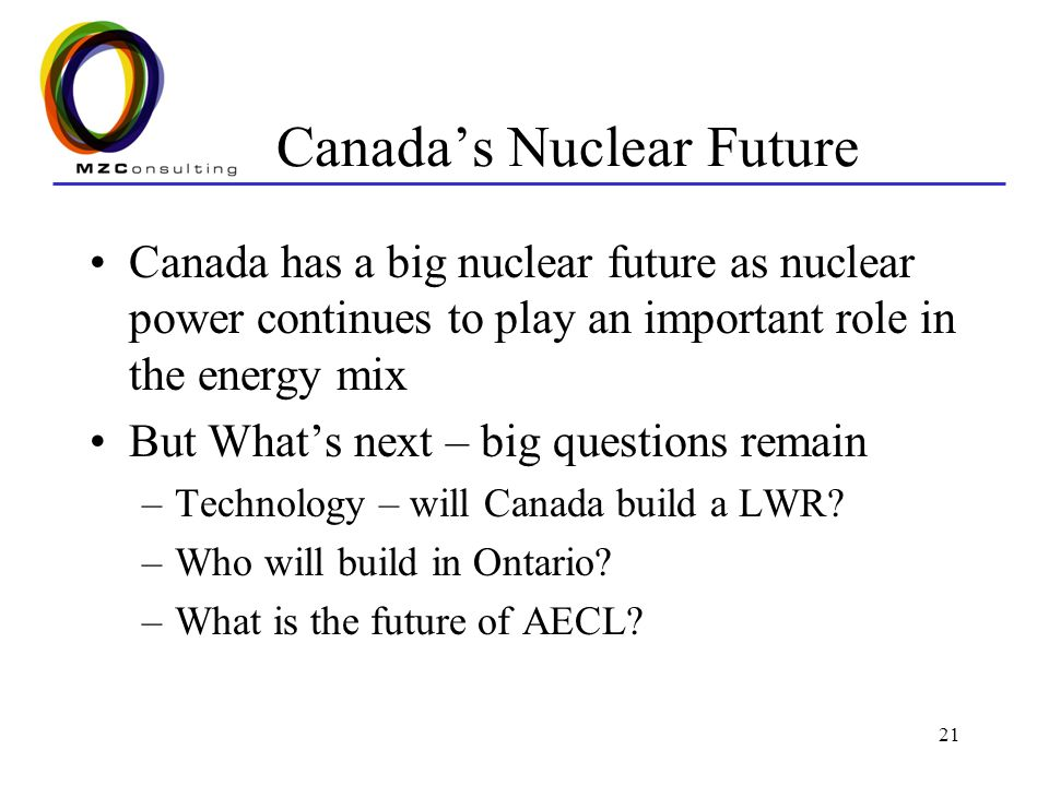 21 Canada's Nuclear Future Canada has a big nuclear future as nuclear power continues to play an important role in the energy mix But What's next – big questions remain –Technology – will Canada build a LWR.