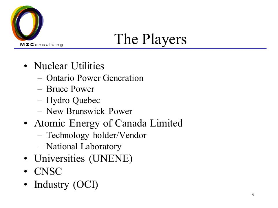 9 The Players Nuclear Utilities –Ontario Power Generation –Bruce Power –Hydro Quebec –New Brunswick Power Atomic Energy of Canada Limited –Technology holder/Vendor –National Laboratory Universities (UNENE) CNSC Industry (OCI)