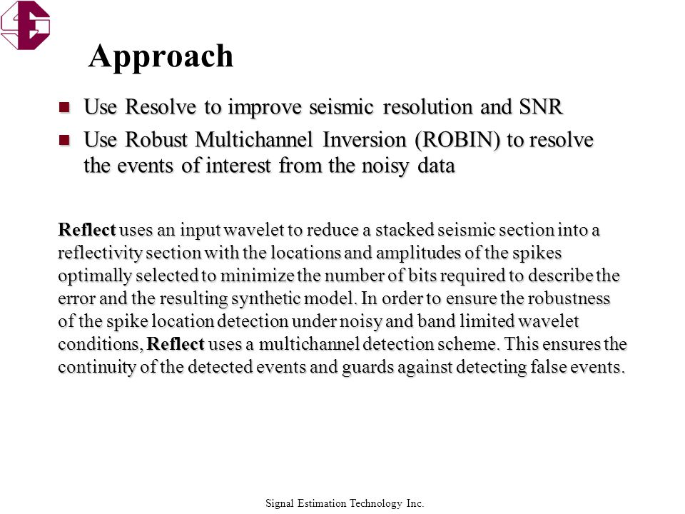 Signal Estimation Technology Inc. Estimated Reflectivity Slave Point Basement