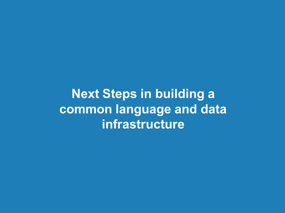Next Steps in building a common language and data infrastructure