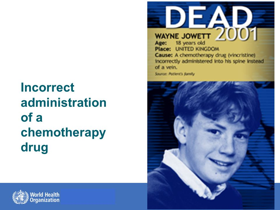 © World Health Organization, 2014 Incorrect administration of a chemotherapy drug