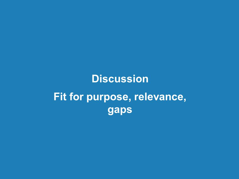 Discussion Fit for purpose, relevance, gaps