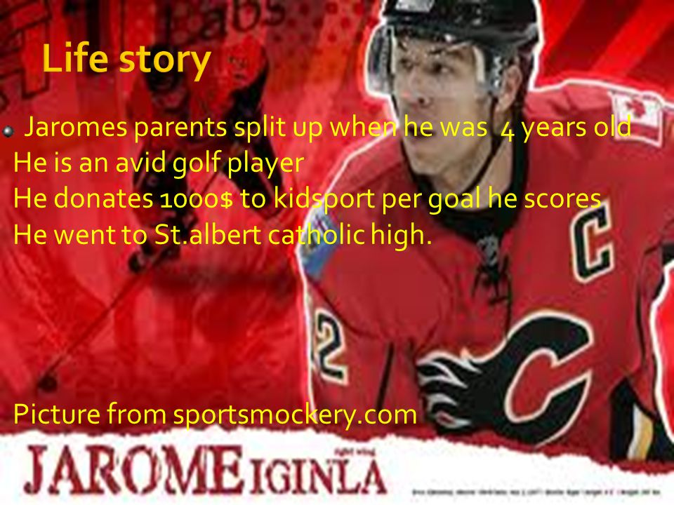 Jaromes parents split up when he was 4 years old He is an avid golf player He donates 1000$ to kidsport per goal he scores He went to St.albert catholic high.