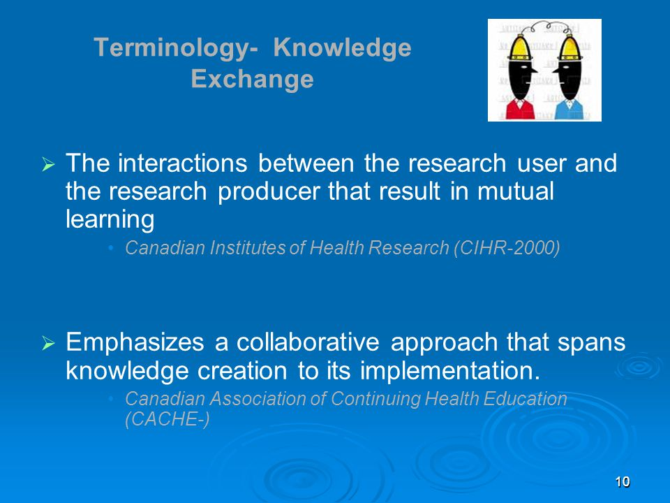 1010 Terminology- Knowledge Exchange  The interactions between the research user and the research producer that result in mutual learning Canadian Institutes of Health Research (CIHR-2000)  Emphasizes a collaborative approach that spans knowledge creation to its implementation.