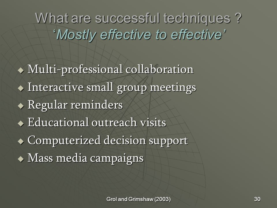 Grol and Grimshaw (2003)30 What are successful techniques .