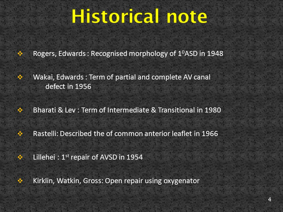  Rogers, Edwards : Recognised morphology of 1 0 ASD in 1948  Wakai, Edwards : Term of partial and complete AV canal defect in 1956  Bharati & Lev :