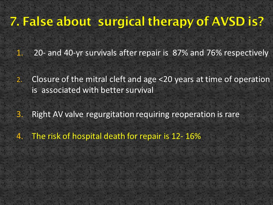 1. 20- and 40-yr survivals after repair is 87% and 76% respectively 2. Closure of the mitral cleft and age <20 years at time of operation is associate