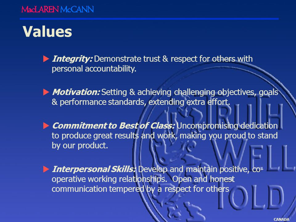 CANADA Values  Integrity: Demonstrate trust & respect for others with personal accountability.