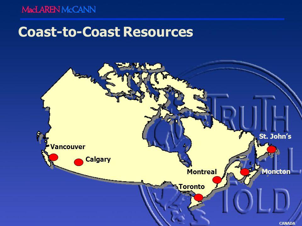 CANADA Vancouver Calgary Toronto Montreal Coast-to-Coast Resources Moncton St. John's