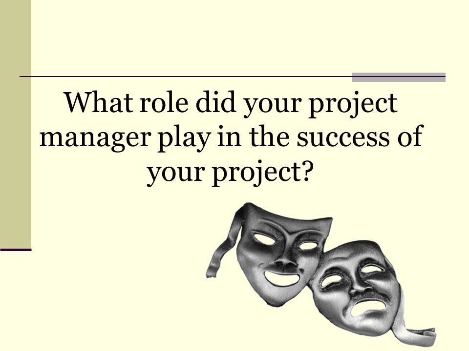 What role did your project manager play in the success of your project