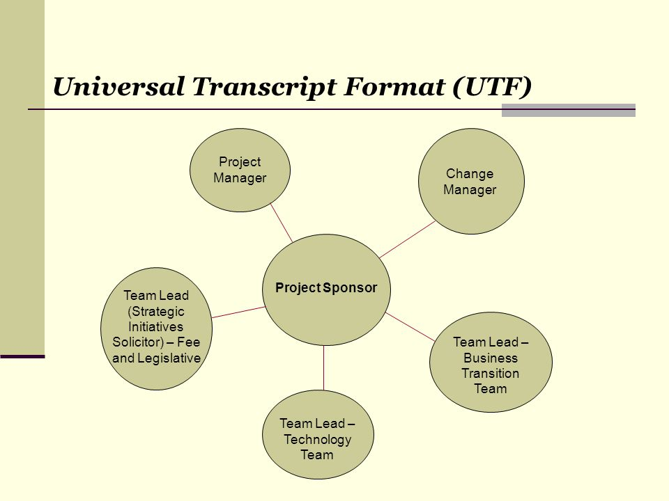 Universal Transcript Format (UTF) Project Sponsor Change Manager Team Lead – Business Transition Team Project Manager Team Lead – Technology Team Team Lead (Strategic Initiatives Solicitor) – Fee and Legislative