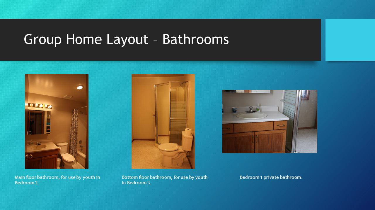 Group Home Layout – Bathrooms Main floor bathroom, for use by youth in Bedroom 2.