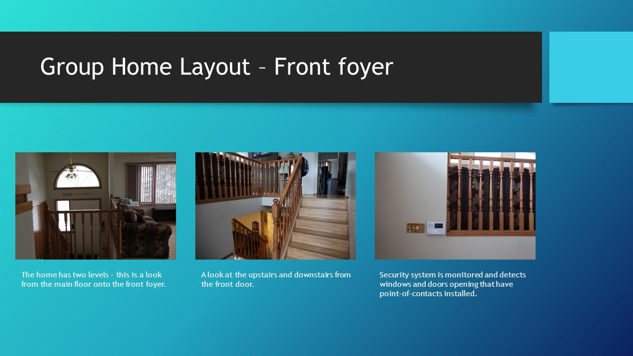 Group Home Layout – Front foyer Security system is monitored and detects windows and doors opening that have point-of-contacts installed.