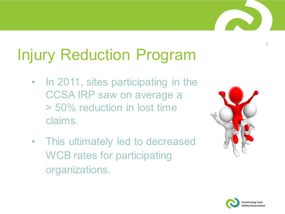 In 2011, sites participating in the CCSA IRP saw on average a > 50% reduction in lost time claims.